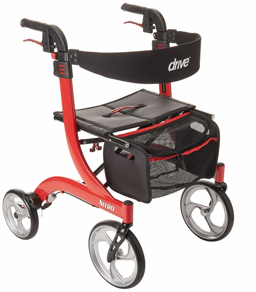 Drive Medical Nitro Euro-Style Red Rollator Walker - walkers for seniors