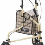 Drive Medical Winnie-Lite Supreme Aluminum Three-Wheeled Rollator, Tan Plaid