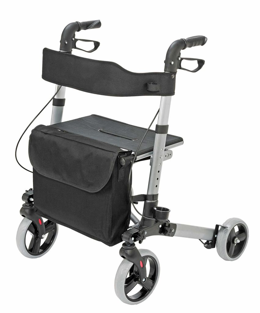 Medical Rollator Walker Euro-Style, Compact-Folding rolling walker with seat