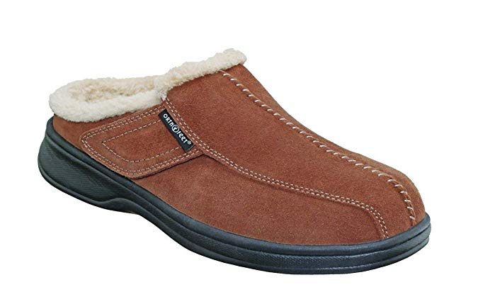Orthofeet Asheville Comfortable Arch Support Diabetic Men's Orthopedic Brown Quality Leather Slippers