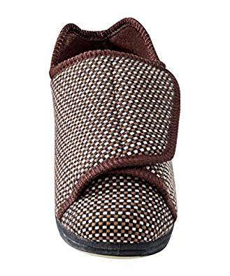 Mens Extra Extra-Wide Slippers for  Swollen Feet, Diabetics & Edema with Adjustable Closures