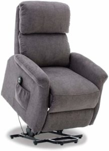 BONZY Lift Recliner Classic Power Lift Chair Soft and Warm Fabric with Remote Control for Gentle Motor, Gray