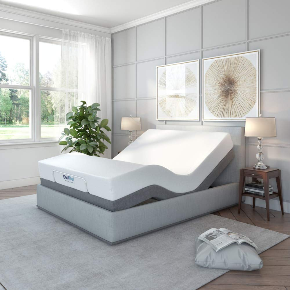 Classic Brands Cool Gel Ventilated Gel Memory Foam 10-Inch Mattress with Adjustable Comfort Upholstered Adjustable Bed Base with Massage, Remote
