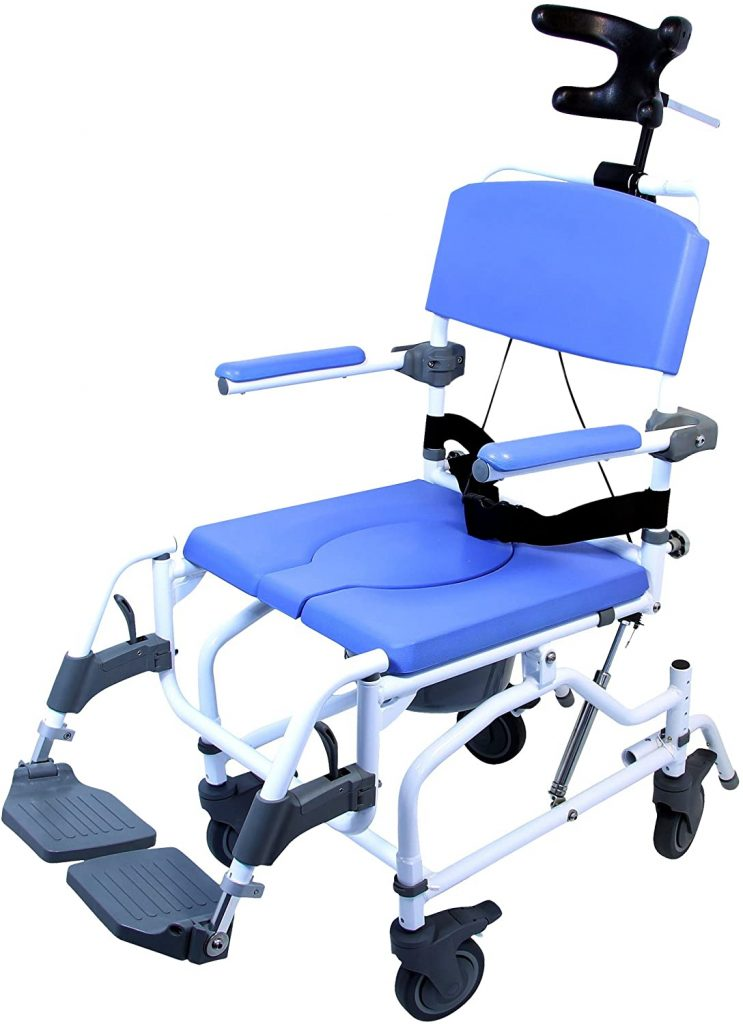 Healthline Medical Products MPU190 Tilt Shower Commode Chair, Blue
