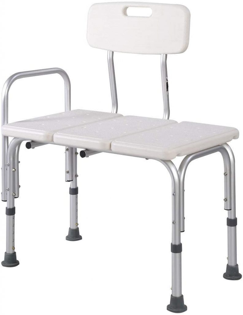 MedMobile Bathtub Transfer Bench Bath Chair with Back