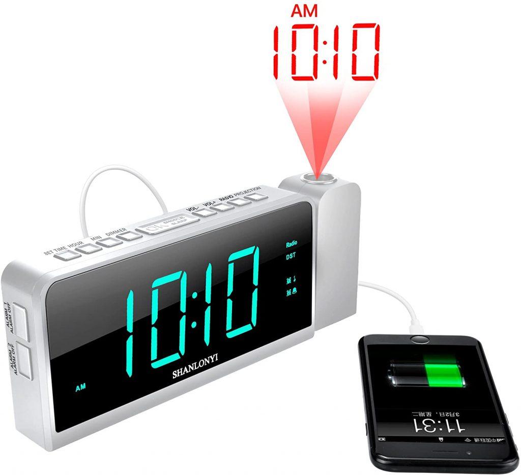 Projection Alarm Clock with AM FM Radio