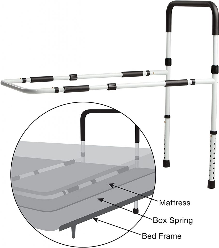 Secure EZBR-1W Bed Assist Hand Rail with Adjustable Floor Support and Safety Strap