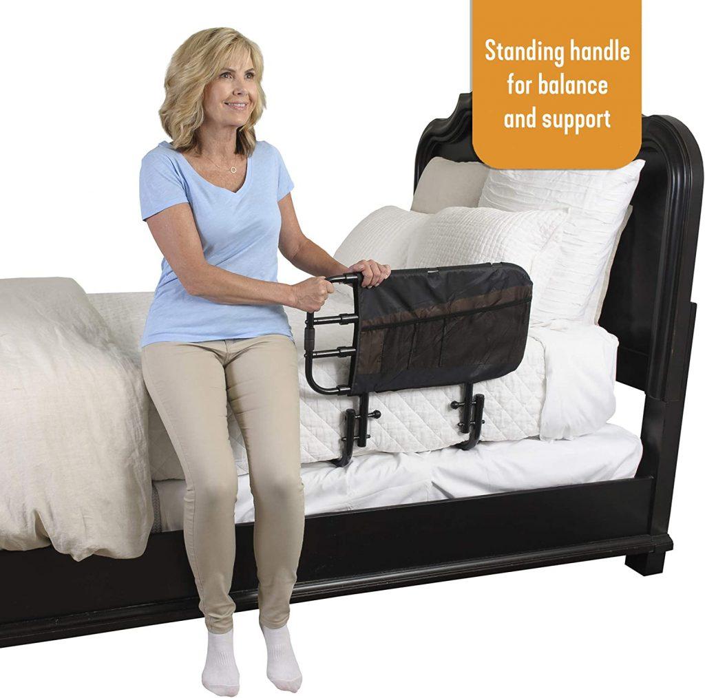 Stander EZ Adjust Bed Rail, Adjustable Home Hospital Bed Rail and Bed Assist Grab Bar for Elderly Adults