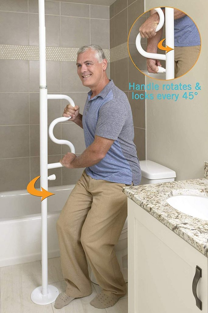 Stander Security Pole and Curve bathroom Grab Bar