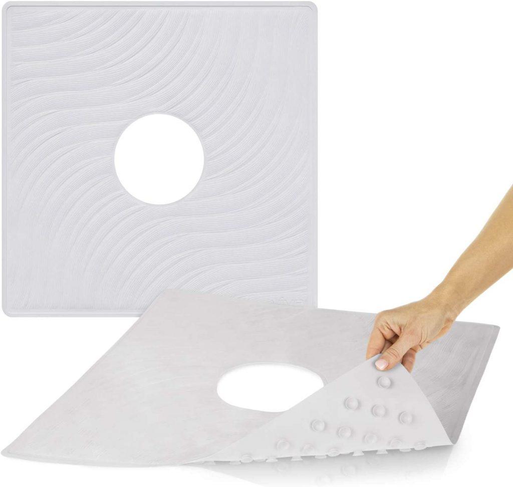 Vive Shower Mat - 22 by 22 Square Non Slip Large non-slip bath mats for the elderly