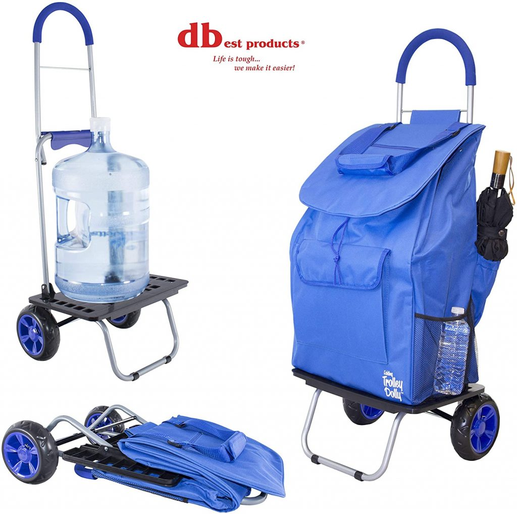 dbest products Bigger Trolley Dolly, Blue Shopping Grocery Foldable Cart - best shopping carts for the elderly